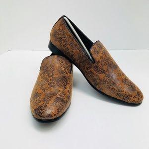 Men's Amali Cognac Paisley Print Slip Ons Shoes